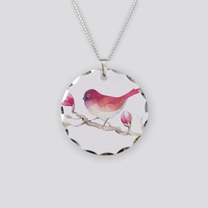 Pink Sparrow Bird on Magnoli Necklace Circle Charm
