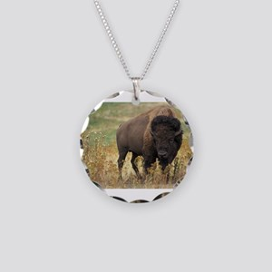 Bison Necklace Circle Charm