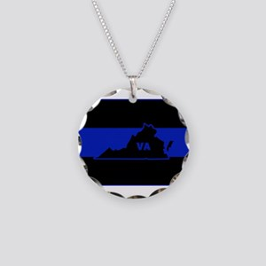 Thin Blue Line - Virginia Necklace Circle Charm