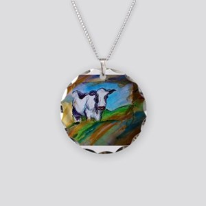 Dairy Cow, animal art, Necklace Circle Charm