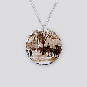 New York Vintage Necklace Circle Charm