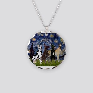 Starry Night / 4 Great Danes Necklace Circle Charm
