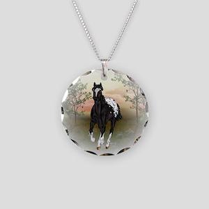 Running Black Appaloosa Horse Necklace