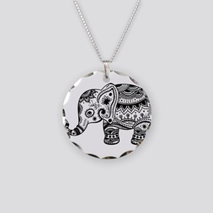 Cute Floral Elephant In Blac Necklace Circle Charm