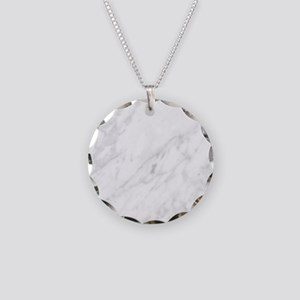 White Marble Necklace Circle Charm