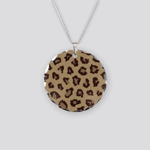 Leopard Print Necklace Circle Charm