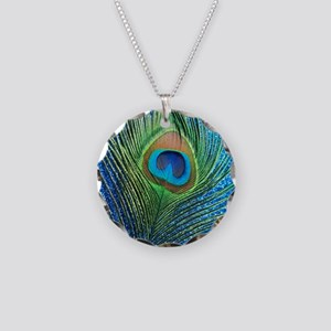 glittery blue peacock feathe Necklace Circle Charm