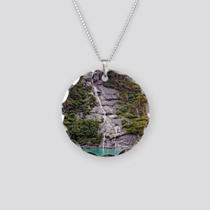 Glacier Waterfall Necklace Circle Charm