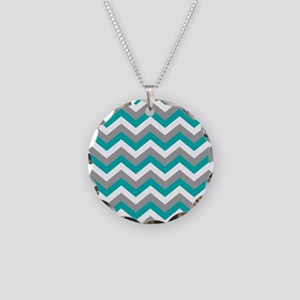 Grey & Teal Chevron Pattern Necklace