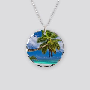 Tropical Beach Necklace Circle Charm