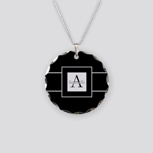 Black White Monogram Personalized Necklace