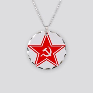 soviet-star-white-w Necklace Circle Charm