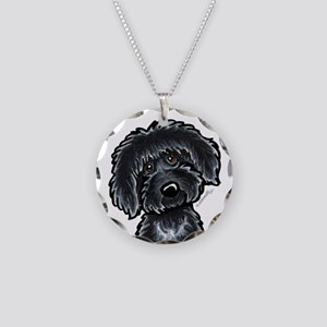 Black Labradoodle Funny Necklace Circle Charm