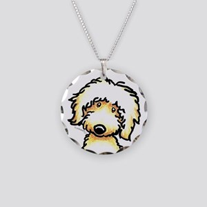Yellow Labradoodle Face Necklace Circle Charm
