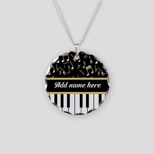 Personalized Piano and musical notes Necklace Circ
