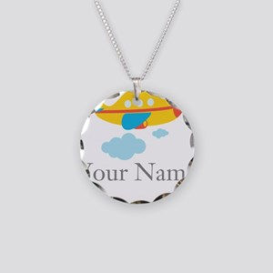 Personalized Yellow Airplane Necklace Circle Charm
