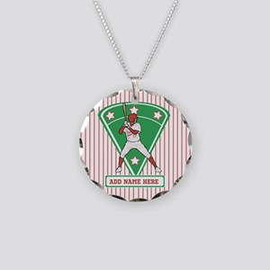 Personalized Red Baseball star player Necklace