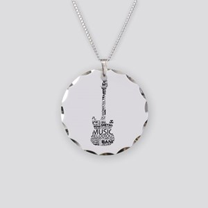 guitar word fill black music image Necklace