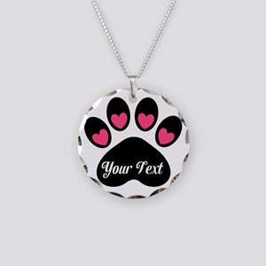 Personalizable Paw Print Pink Necklace
