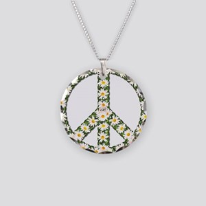 peace daisies Necklace Circle Charm