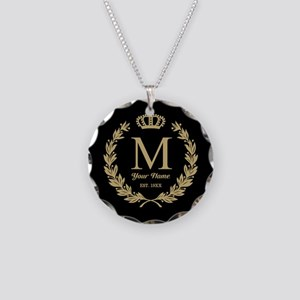 Monogrammed Wreath & Crown Necklace Circle Charm