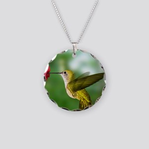 Hummingbird in flight Necklace Circle Charm