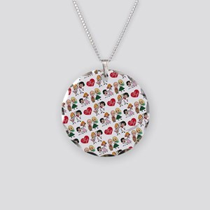 I Love Lucy Character Stick Necklace Circle Charm