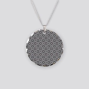 Black-n-White Squares Necklace Circle Charm