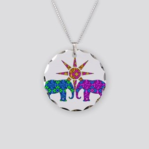 Colorful Elephants Necklace Circle Charm