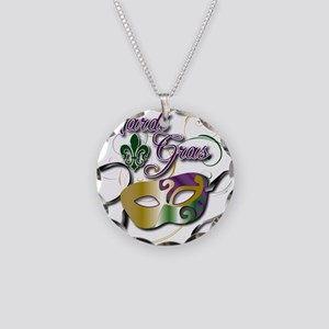 Mardi Gras Necklace Circle Charm
