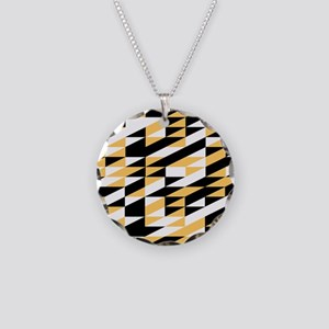 Mustard and black retro geometric Necklace