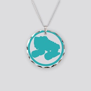 Teal Skate Necklace Circle Charm