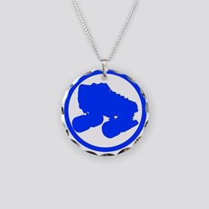 Blue Skate Necklace Circle Charm
