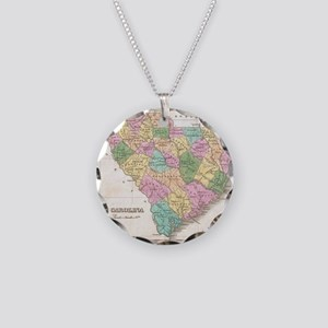 Vintage Map of South Carolin Necklace Circle Charm