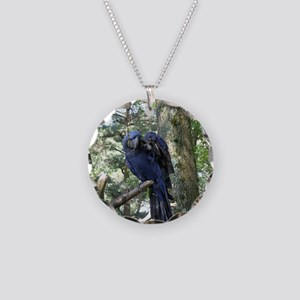 Blue Macaw in a Tree Necklace Circle Charm