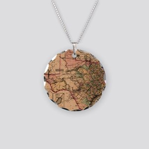 1855 Map of TX Necklace Circle Charm