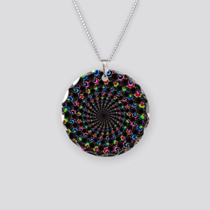 Psychedelic Wormhole Necklace Circle Charm