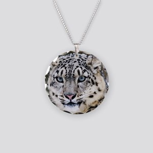 Snow Leopard Necklace Circle Charm