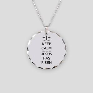 Risen Jesus Necklace Circle Charm