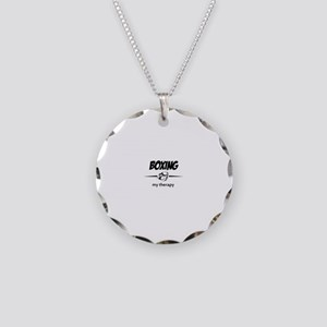 Boxing my therapy Necklace Circle Charm