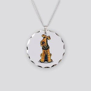 Airedale Welsh Terrier Necklace Circle Charm