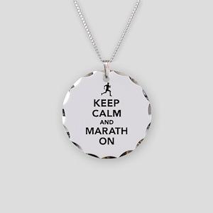 Keep calm and Marathon Necklace Circle Charm