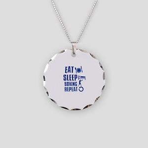 Eat sleep Boxing Necklace Circle Charm