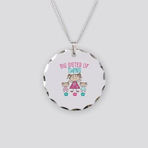 Big Sister Of Twins Necklace Circle Charm