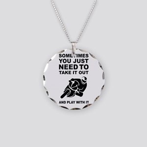 Take It Out And Play With It Necklace Circle Charm