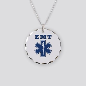 EMT Blue Star Of Life* Necklace Circle Charm