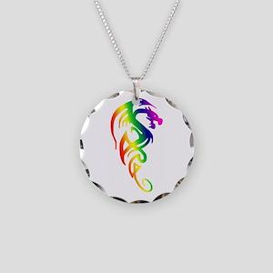Tribal Dragon Necklace Circle Charm