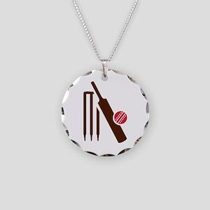 Cricket bat stumps Necklace Circle Charm