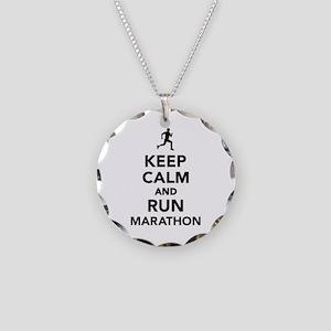 Keep calm and run Marathon Necklace Circle Charm