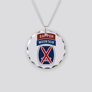 10th Mountain Sapper Necklace Circle Charm